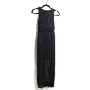 Sweet Storm Formal Black Sparkly Dress Long Small